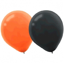 Orange & Black Latex Balloons | Halloween Party Supplies