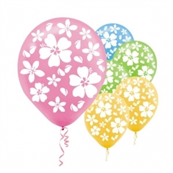 Hibiscus Printed Latex Balloons | Luau Party Supplies