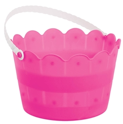Bright Pink Scalloped Bucket | Easter