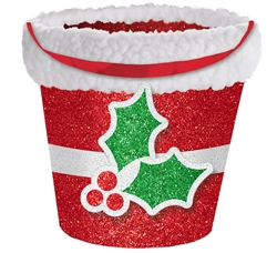 Holly Bucket w/Cello | Party Supplies