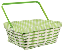 Gingham Basket Bamboo & Fabric | Party Supplies