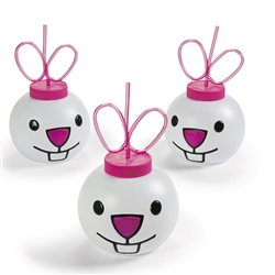 Easter Bunny Molded Cups w/Lids & Straws | Party Supplies