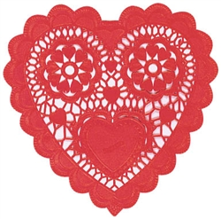 Heart-Shaped Red Doilies - 3-1/2"