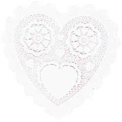 Heart-Shaped White Doilies - 3-1/2"