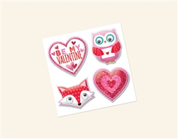 Valentine Puffy Sticker w/Glitter | Party Supplies