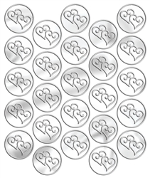 Silver Heart Metallic Seals | Party Supplies