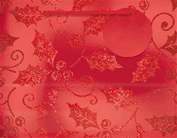 Red Holly Deluxe Foil w/Glitter Medium Bags | Party Supplies