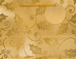 Gold Holly Deluxe Foil w/Glitter Medium Bags | Party Supplies