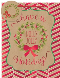 Kraft Holly Jolly Holiday Medium Bags | Party Supplies