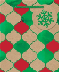 Kraft Christmas Quatrefoil Small Bags | Party Supplies