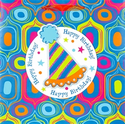 Geometric Birthday Super Square Specialty Bags | Party Supplies