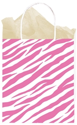 Pink Zebra Medium Kraft Bags | Party Supplies