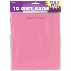 Pink Solid Medium Value Pack Glossy Bags | Party Supplies