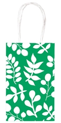 Festive Green Leaf Printed Cub Bags | Party Supplies