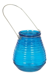 Caribbean Blue Glass Candle Holder | Party Supplies