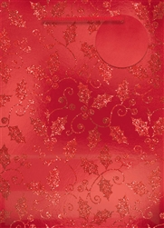 Red Holly Deluxe Foil w/Glitter Extra Large Bags | Party Supplies