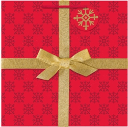 Red & Gold Gift w/Bow Large Square Bags | Party Supplies