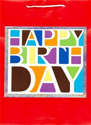 Happy Birthday Block Jumbo Specialty Bags | Party Supplies