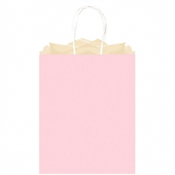 Pink Solid Large Kraft Bags | Party Supplies