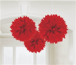 Red Fluffy Hanging Decorations | party decorations