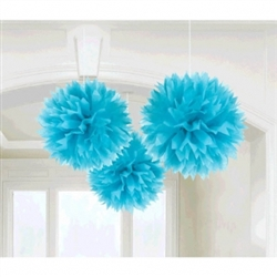Caribbean Blue Fluffy Decorations | Luau Decorations