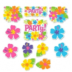 Hibiscus Value Pack Printed Paper Cutouts | Luau Party Supplies