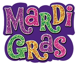 Mardi Gras Mini Glitter Paper Cutouts | Party supplies