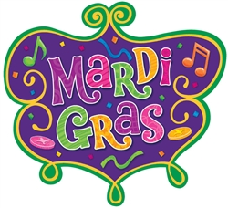 Mardi Gras Medium Cutout | Green, Gold, Purple Hanging Decorations