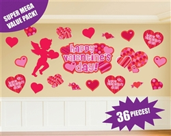 Valentine Printed Super Mega Value Pack Cutouts | Valentines Supplies