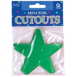 "Green 3-1/2"" Mini Packaged Foil Star 