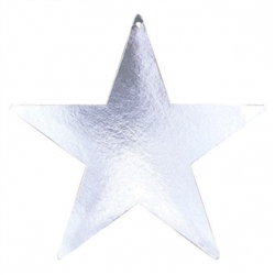 "Silver 3-1/2"" Mini Packaged Foil Star 