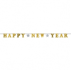 Happy New Year Ribbon Banner w/Glitter Paper Letters - Silver & Gold | Party Supplies