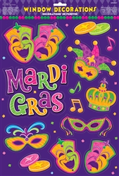 Mardi Gras Vinyl Window Decorations | Mardi Gras Party Supplies