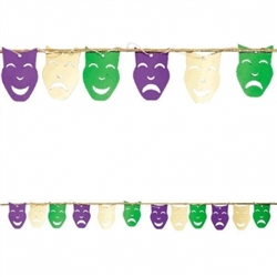 Mardi Gras Foil String Garland | Comedy/Tragedy Mask Decorations