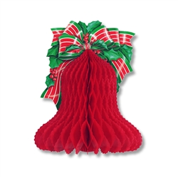 Tissue Christmas Bell with Printed Bow and Holly