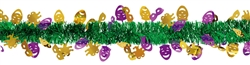Mardi Gras Masks Tinsel & Foil Garland | Comedy/Tragedy Hanging Decoration