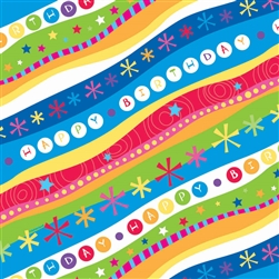 Groovy Birthday Stripe Jumbo Gift Wrap | Party Supplies