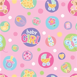 Baby Dot Pink Gift Wrap | Party Supplies