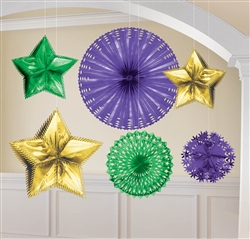 Mardi Gras Foil Starburst Decorating Kit | Party Supplies
