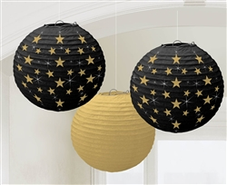 Hollywood Round Gold & Black Lantern | Party Supplies