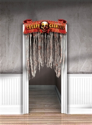 Creepy Carnival Doorway Curtain Cardboard Sign w/Gauze