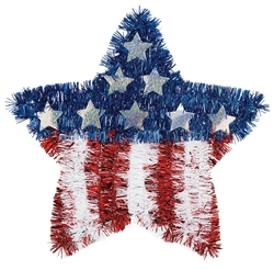 American Flag Tinsel Star | Patriotic Party Supplies