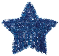 Patriotic Tinsel Star - Blue | Party Supplies