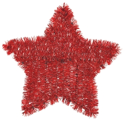 Patriotic Tinsel Star - Red | Party Supplies