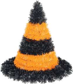 3-D Witch Hat - Black/Orange Tinsel Decorations | Halloween Decorations