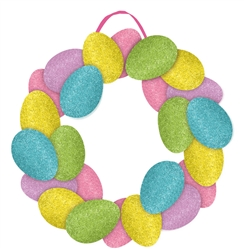 Easter Egg Wreath Sign with Ribbon Hanger | Party Supplies