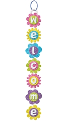 Spring Long Welcome Sign w/Ribbon Hanger | Party Supplies