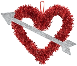 Heart & Arrow Tinsel & Glitter Decoration | Valentines supplies