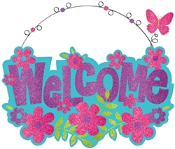 Welcome Sign w/Wire Hanger | Party Supplies