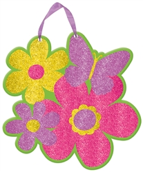 Butterflies & Flowers Sign w/Ribbon Hanger | Party Supplies